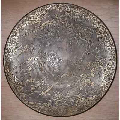 Plat Japonais en alliage cuivreux, époque Meiji