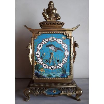 Pendule En émail Cloisonné Et Bronze Doré Pour l'Escalier De Cristal