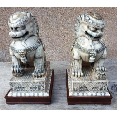 Pair Of Ivory Fo Lions On Zitan Base, China Qing Dynasty