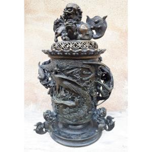 Grand Brûle-parfum Japonais En Bronze, Japon ère Meiji