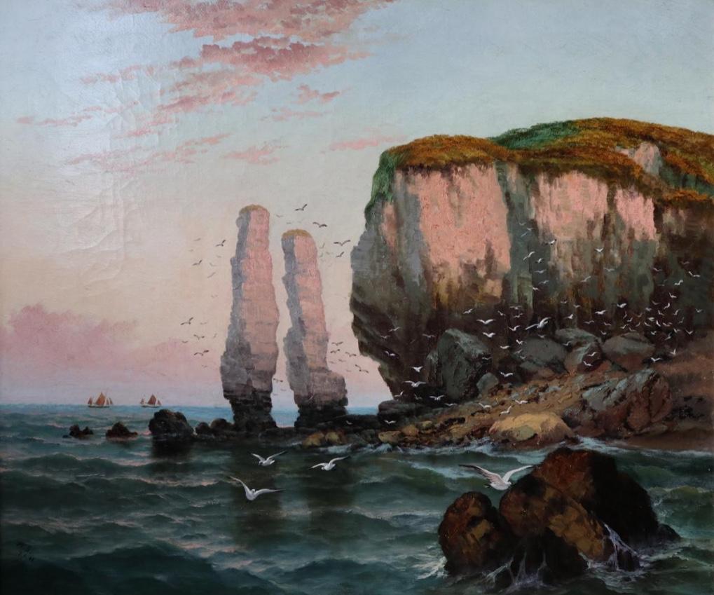 """""""Old Harry Rocks"""" dans le Dorset - Attribué à Henry Bacon (1839-1912), artiste américain"""