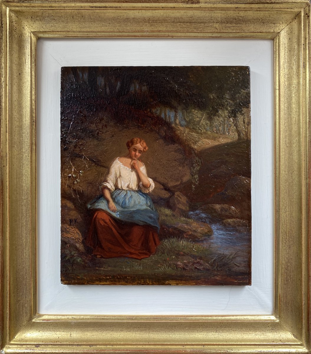 Girl On The Edge Of The River, Oil On Panel Mahogany 19th