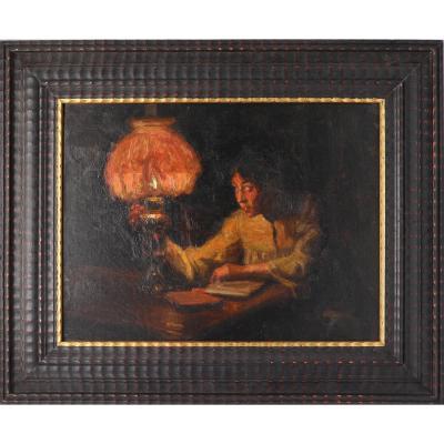 Portrait De Femme à La Lecture - Huile Sur Toile Vers 1900