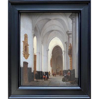 Bernard Neyt (brussels, 1825 - 1880), Animated Church Interior, Dated 1849