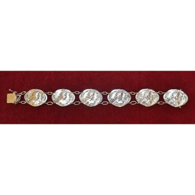 Modern Style Art Nouveau Silver Bracelet