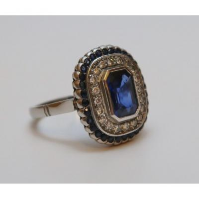 White Gold Ring Adorned With Sapphires And Diamonds, Circa 1930