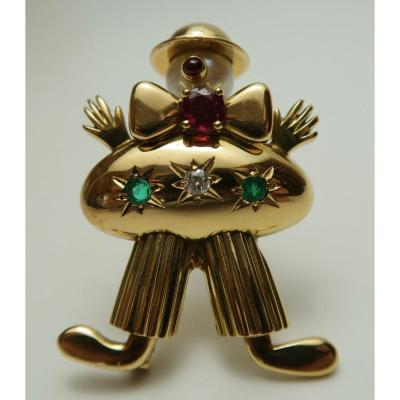 Gold Clown Brooch, 1950s