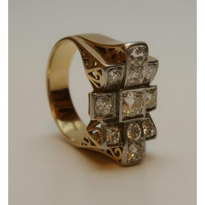 Gold And Diamond Ring, 1940s