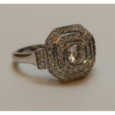 Art Deco Ring In White Gold And Diamonds