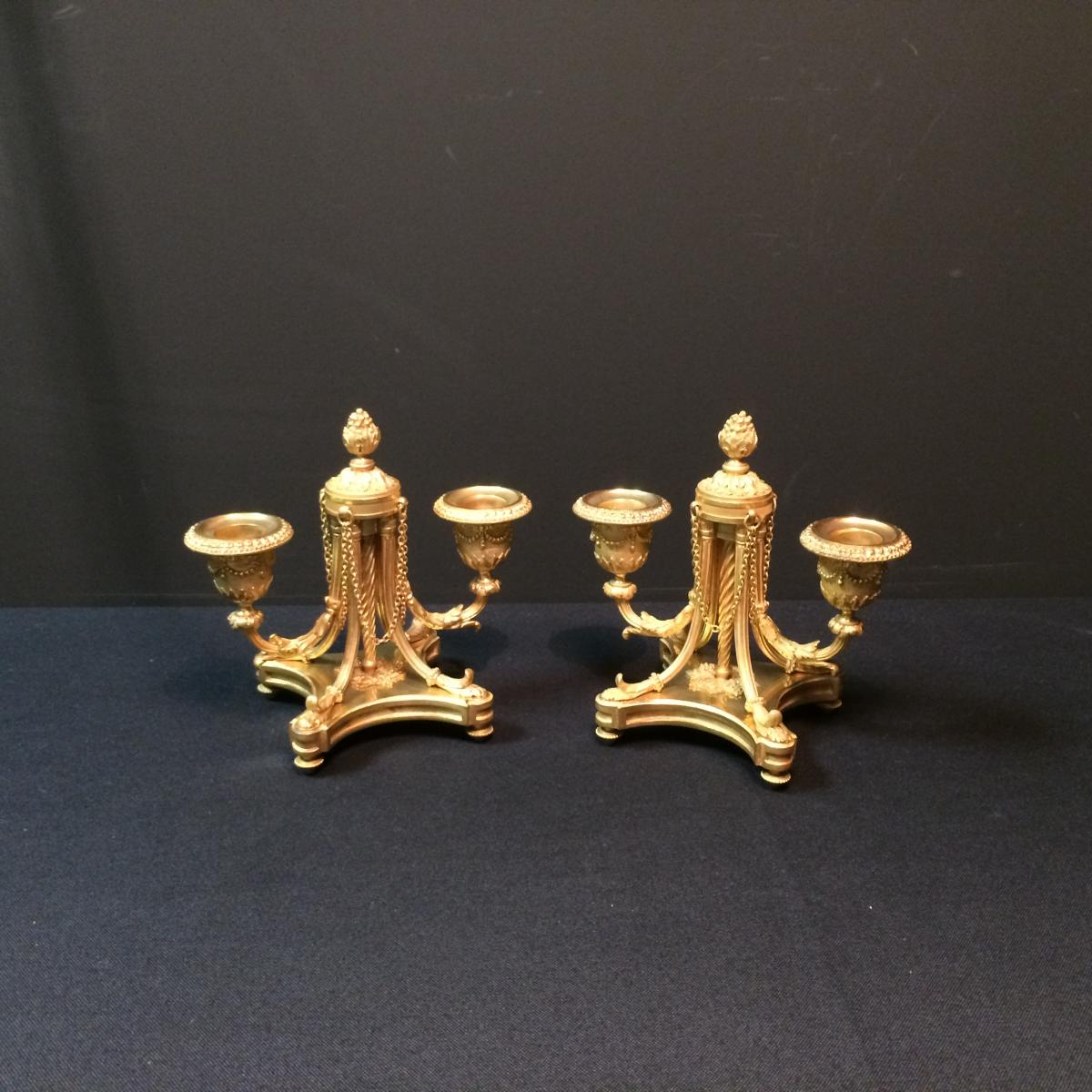 Pair Of Candlesticks With Double Arm Of Light In Gilded Bronze