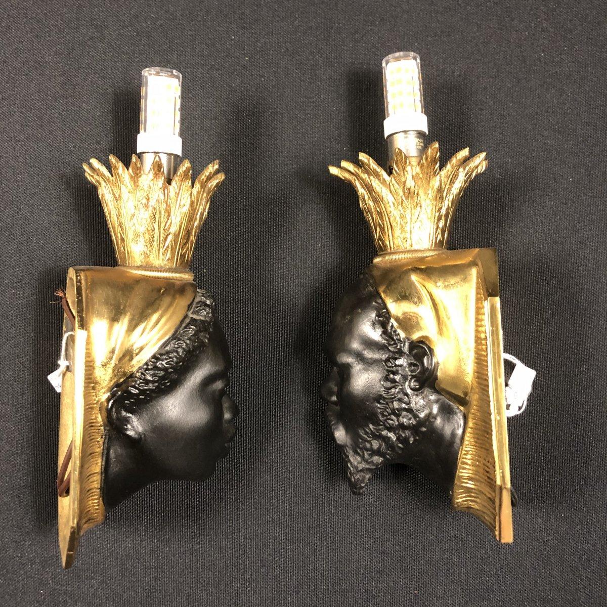 Pair Of Nubian Sconces, Original Model Attributed To Baguès-photo-1