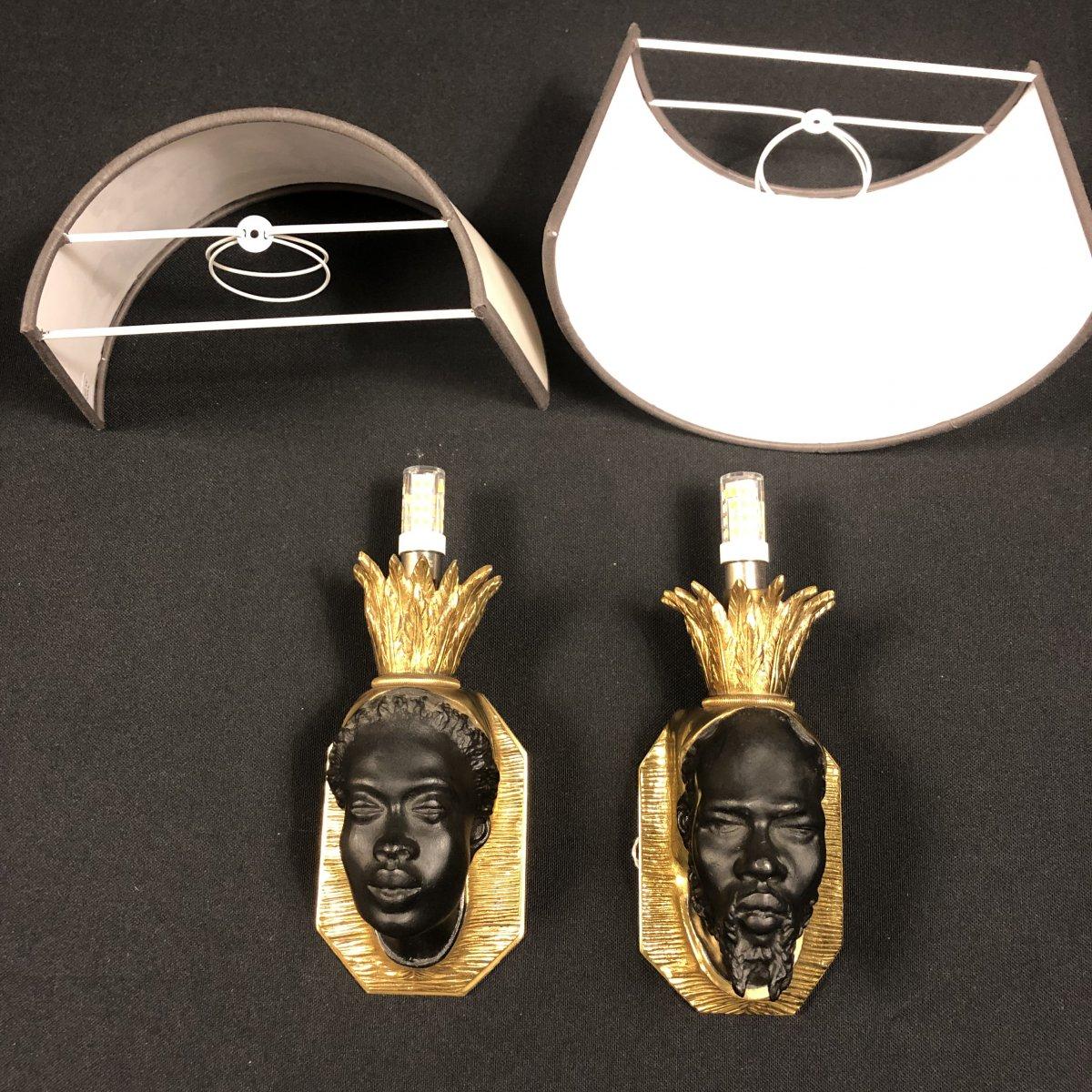Pair Of Nubian Sconces, Original Model Attributed To Baguès-photo-3