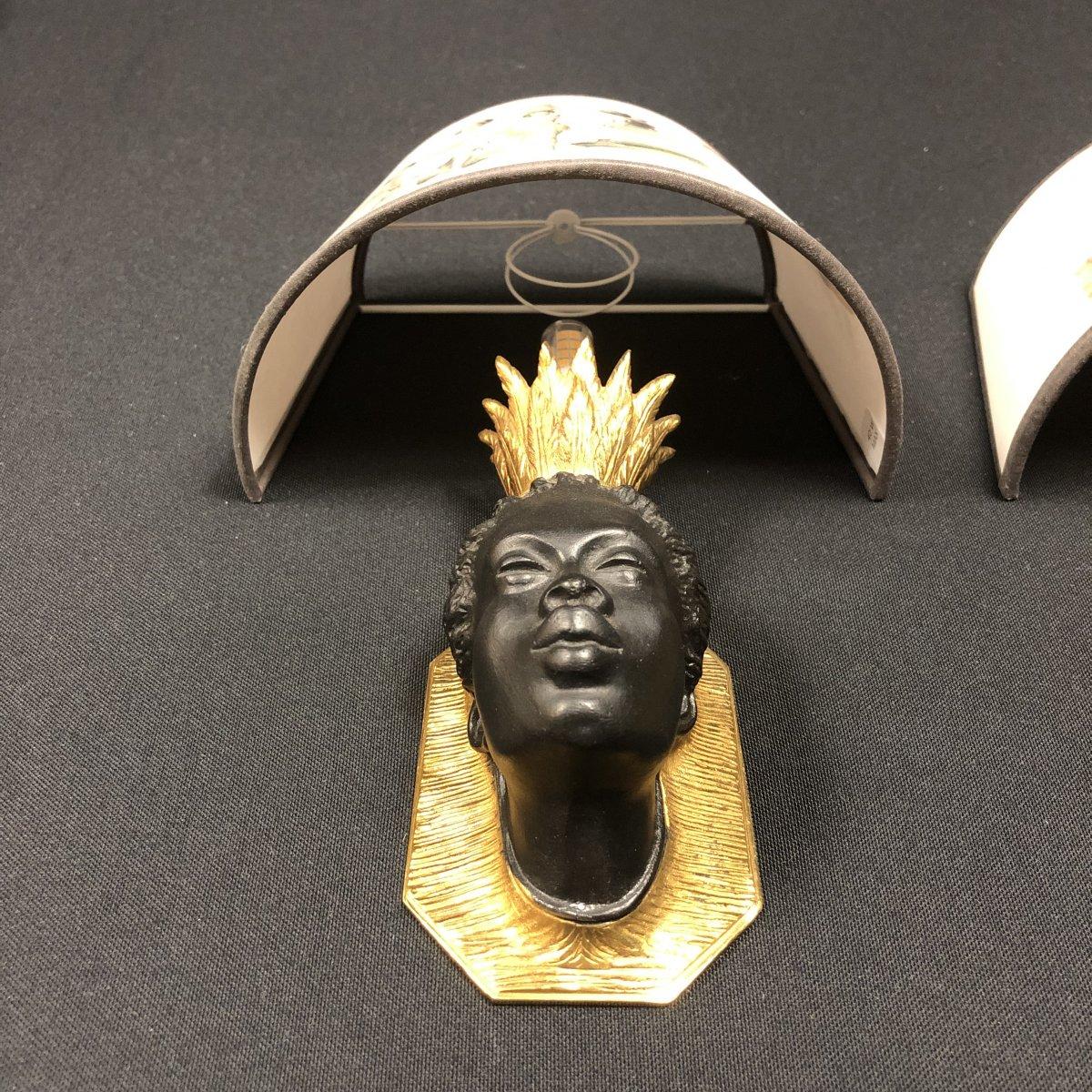Pair Of Nubian Sconces, Original Model Attributed To Baguès-photo-7