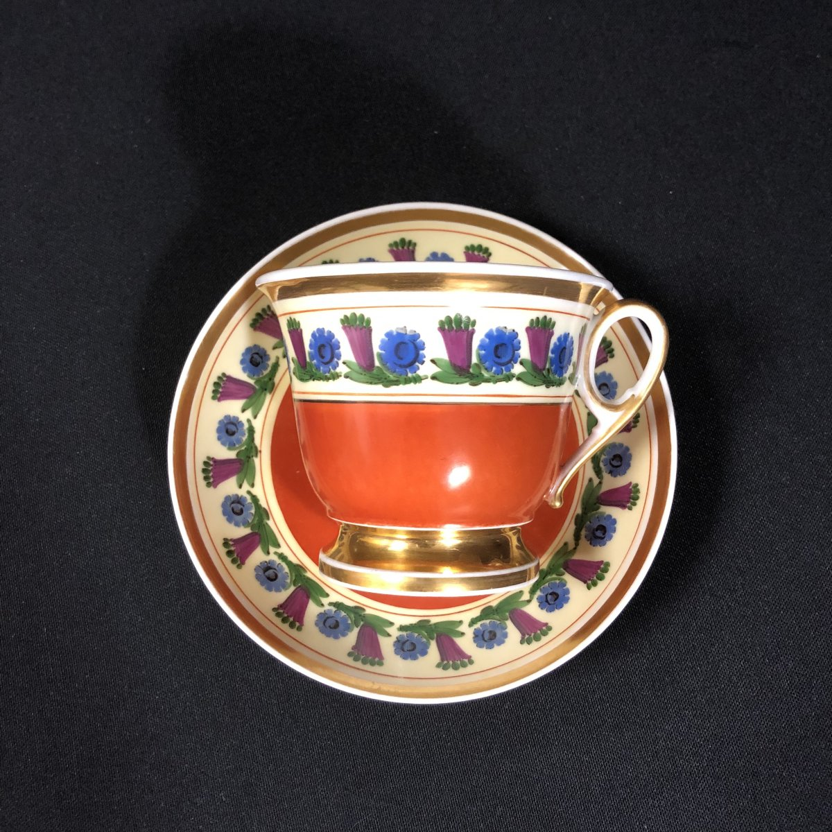 Chocolate Cup And Saucer In Paris Porcelain-photo-2
