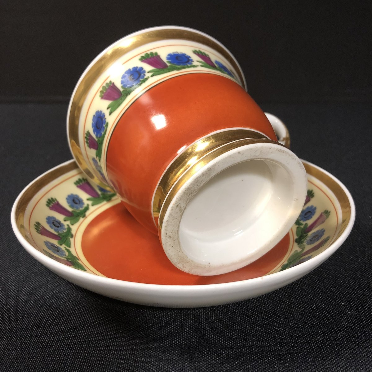 Chocolate Cup And Saucer In Paris Porcelain-photo-4