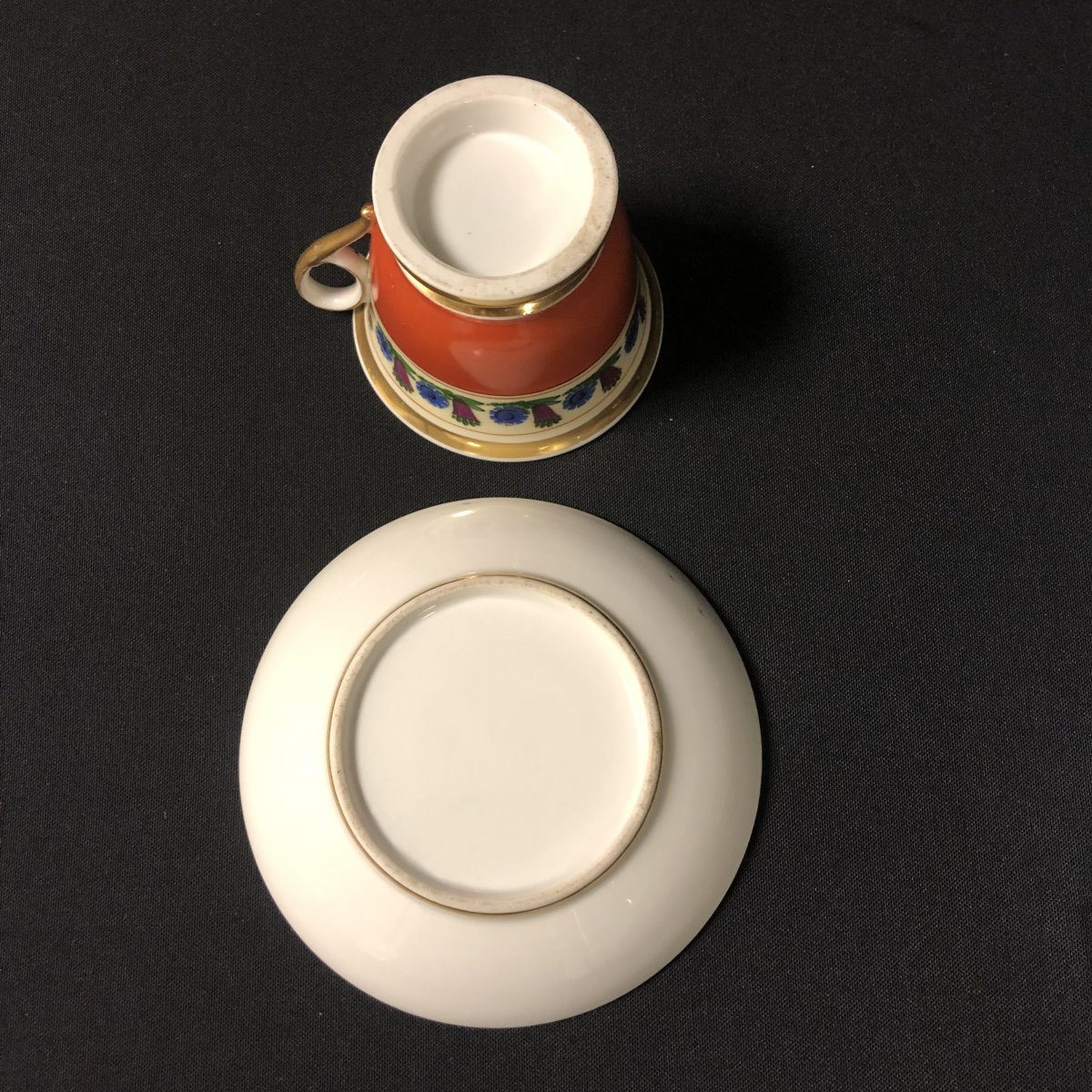 Chocolate Cup And Saucer In Paris Porcelain-photo-3