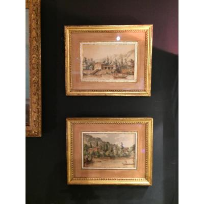 "Pair Of Watercolors ""campaign Scenes"""