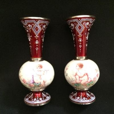 Pair Of Small Vases In Vienna Enamel And Silver