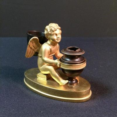 Inkwell In Bronze From Charles X Period