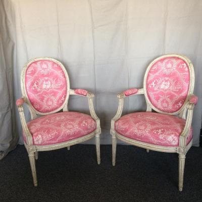 Paire de fauteuils d'époque Louis XVI estampillés H. Jacob