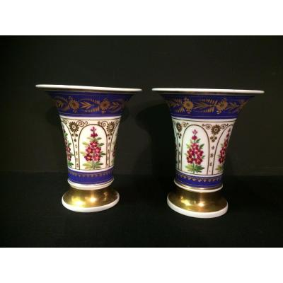 Pair Of Vases In Paris Porcelain