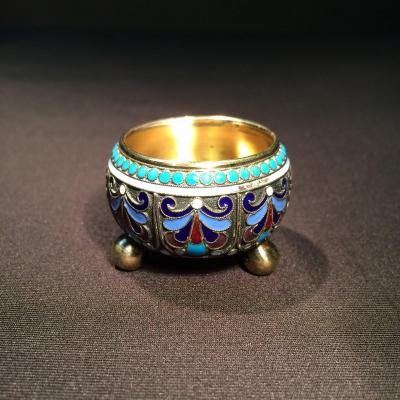 Saleron In Silver And Enamels In Cloisonné From Russia