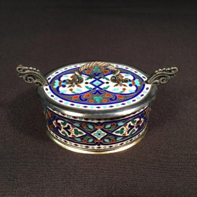 Box Or Salt Cellar, Silver And Enamel Signed Marius Hammer