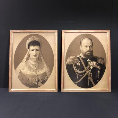 Pair Of Lithographs Representing Tsar Alexander III And Maria Feodorovna