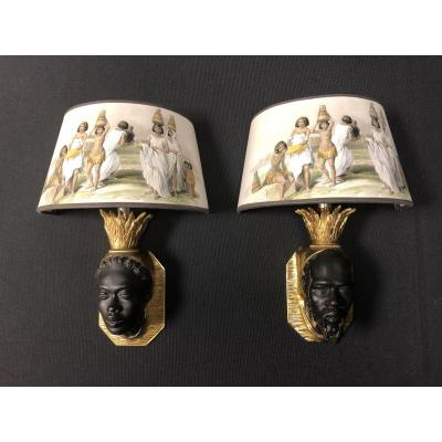 Pair Of Nubian Sconces, Original Model Attributed To Baguès