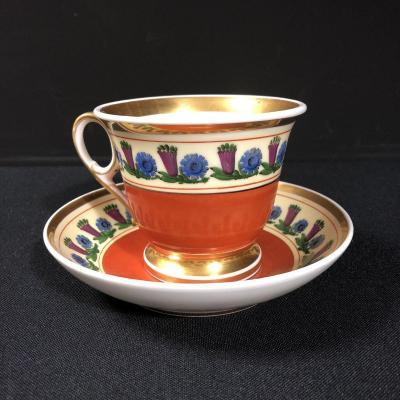Tasse et sous tasse à chocolat en porcelaine de Paris