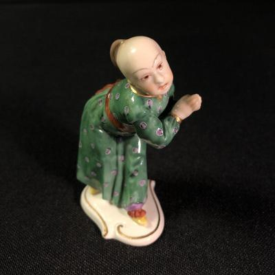 Chinese Statuette In Nymphenburg Porcelain