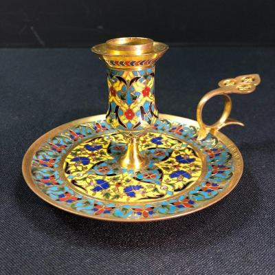 Candle Holder In Enamel Cloisonné Signed F. Barbedienne