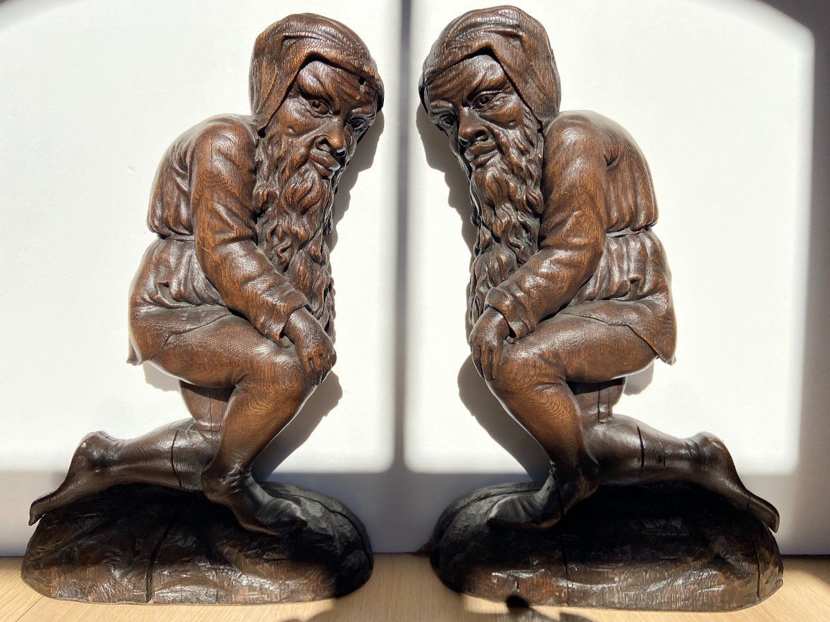 Pair Of Oak Sculpture
