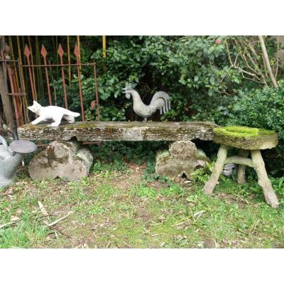 Banc De Jardin En Ciment Faux Bois....