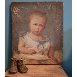 Little Girl With Blue Ribbon ... Hst 1892