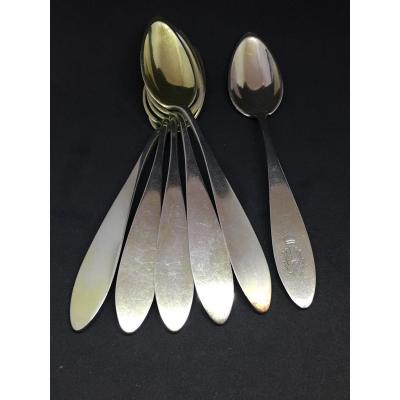 6 Sterling Silver Dessert Spoons Including One With Count Crown