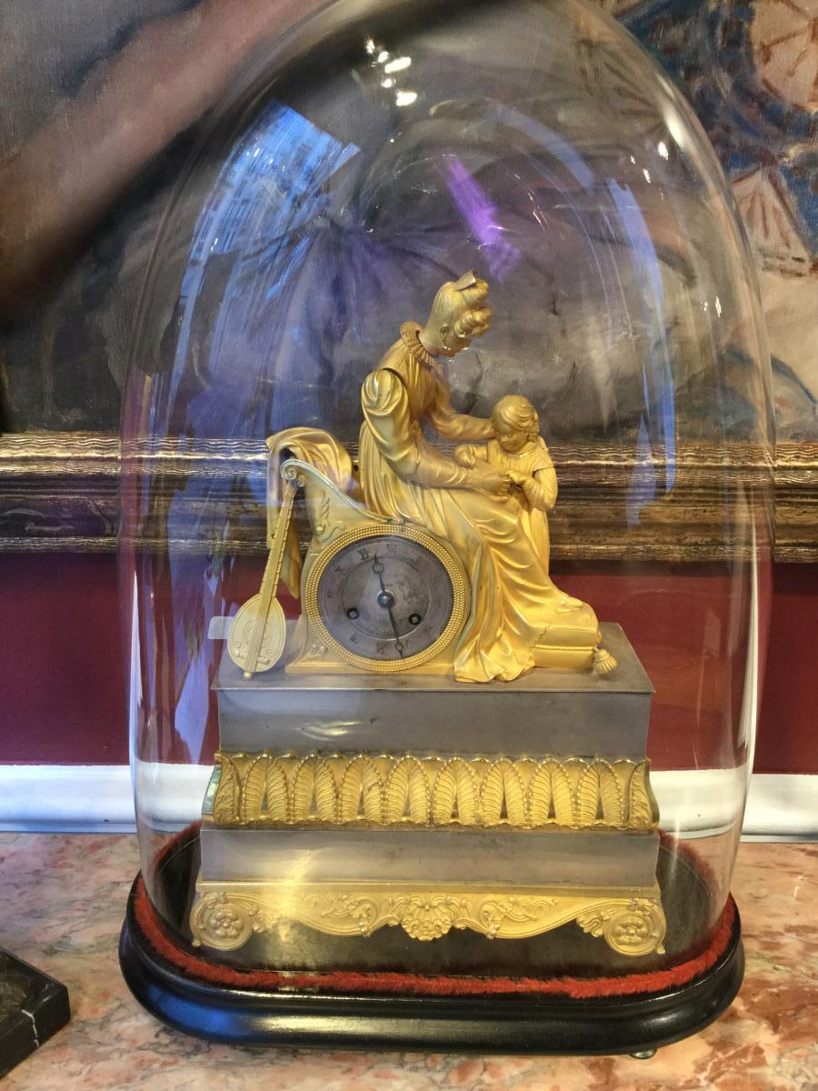 Restoration Clock In Gilded And Silvered Bronze,
