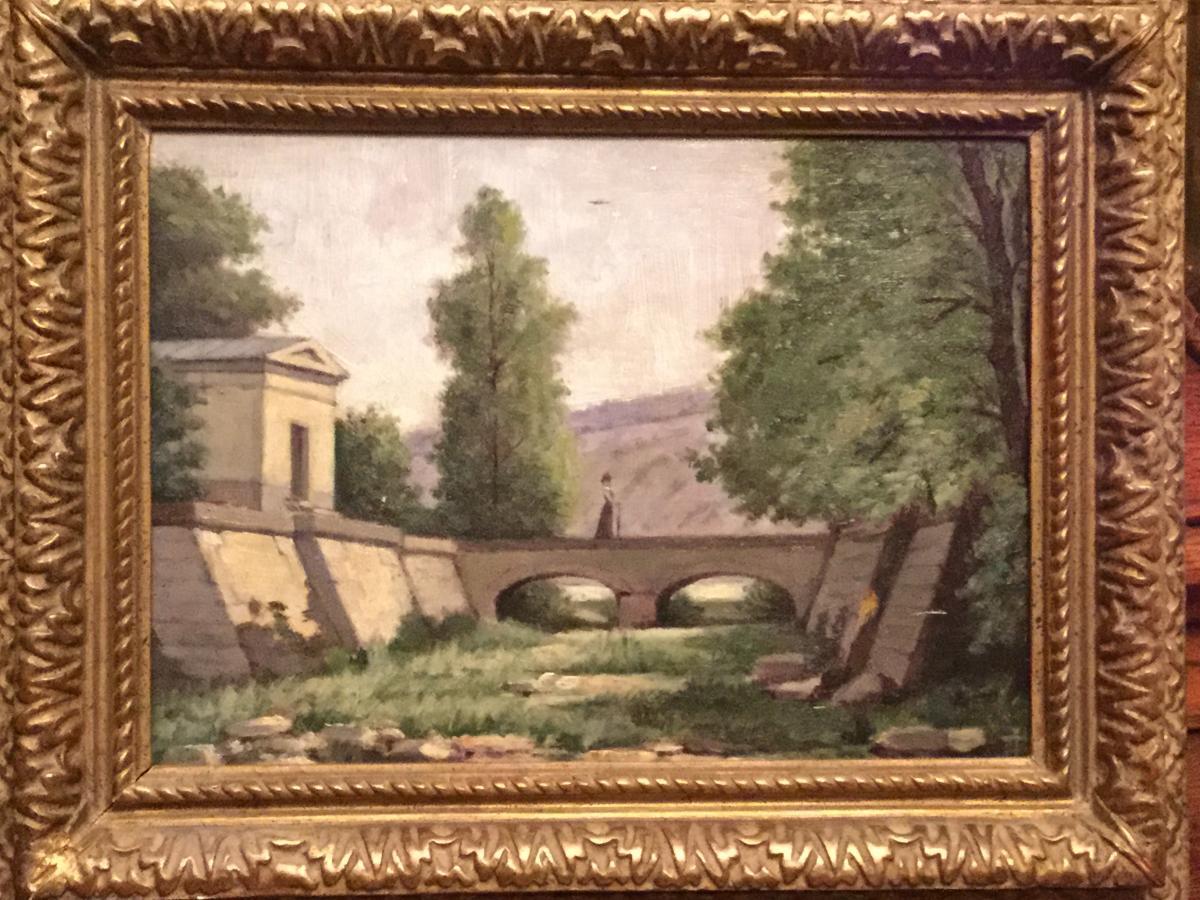 Oil Painting On Wood, Fountain Of Jouvence Near Dijon
