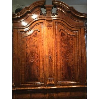 Baroque Cabinet In Walnut Veneer Around 1760