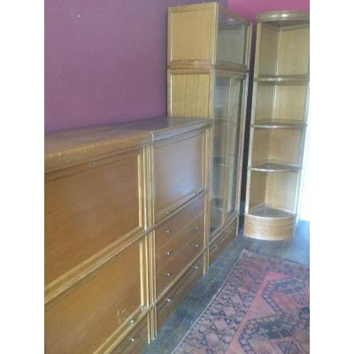 Md System Bookcase, Display Cabinet, Secretary, Drawer Units, Corners Etc 20 Pieces