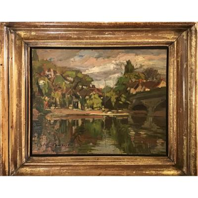 """Oil On Cardboard """"the Thames"""""""
