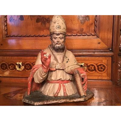 Polychrome Wooden Sculpture, Dating From The Beginning Of The 18th Century, Liborius.