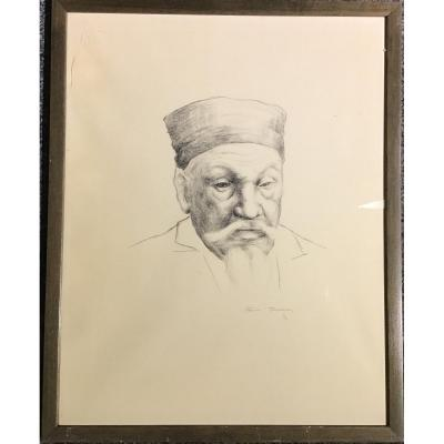 Chinese Portrait Lithograph Of The Luxembourg Artist Foni Tissen