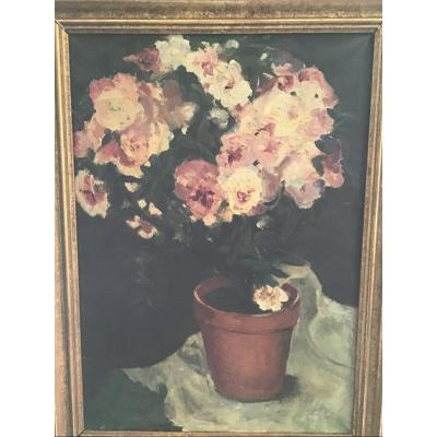 Huile sur toile, fleurs,  non signée