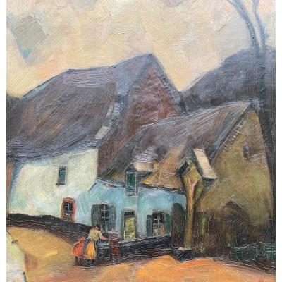 Albert Raty peintre belge , huile sur toile