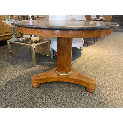 Empire Period Pedestal Table In Light Mahogany, Marble Top