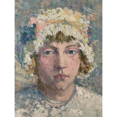 Painting Portrait Of A Young Girl Signed By A. Robert