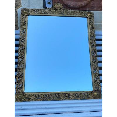 Miroir cadre en bronze doré