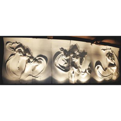 Très grande (12m) sculpture en plâtre Art déco