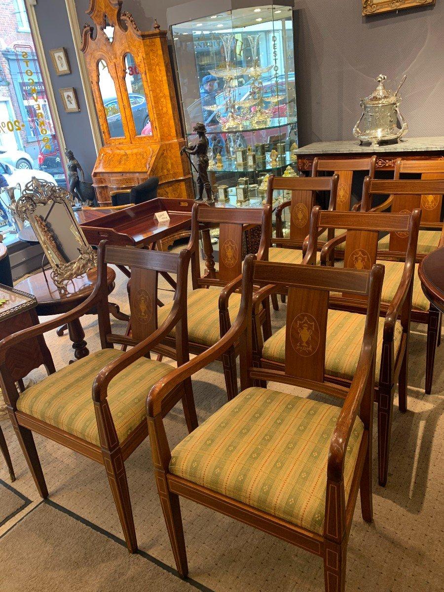 8 Chaises à Accoudoirs En Acajou-photo-2
